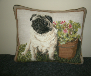 Decorative Needlepoint Pug Pillow With Potted Geraniums