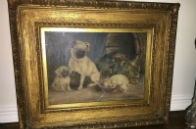 Original Oil on Canvas Painting c.1835 Signed H Marriott Pug with Puppies