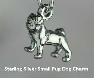 Sterling Silver Small Pug Dog Charm - Sslp3554