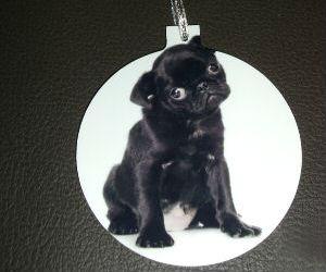 BLACK PUG DOG CHRISTMAS TREE ORNAMENT