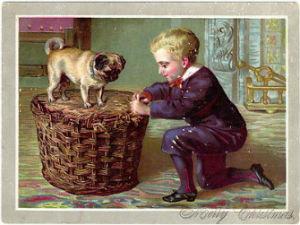 CUTE LITTLE BOY w/ PUG DOG c1880 Christmas Card