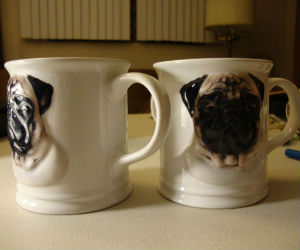 Great Coffee Mugs Adorned with Adorable Bas Relief Pugs