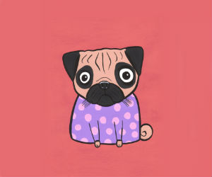Pug Dog Polka Dot girl Turddemon outsider cartoon