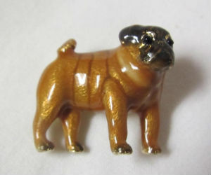 Vintage E PEARL Signed Pug Dog Enamel Brooch Pin