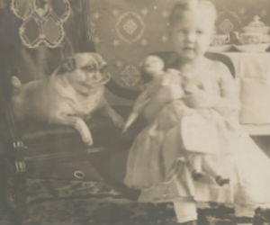1910 PHOTO POSTCARD BABY W/ 1850 DOLL & PUG DOG PHOTO
