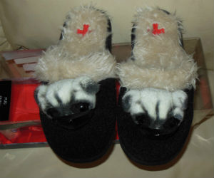 Fuzzy Nation Pug dog black slippers with faux fur lining